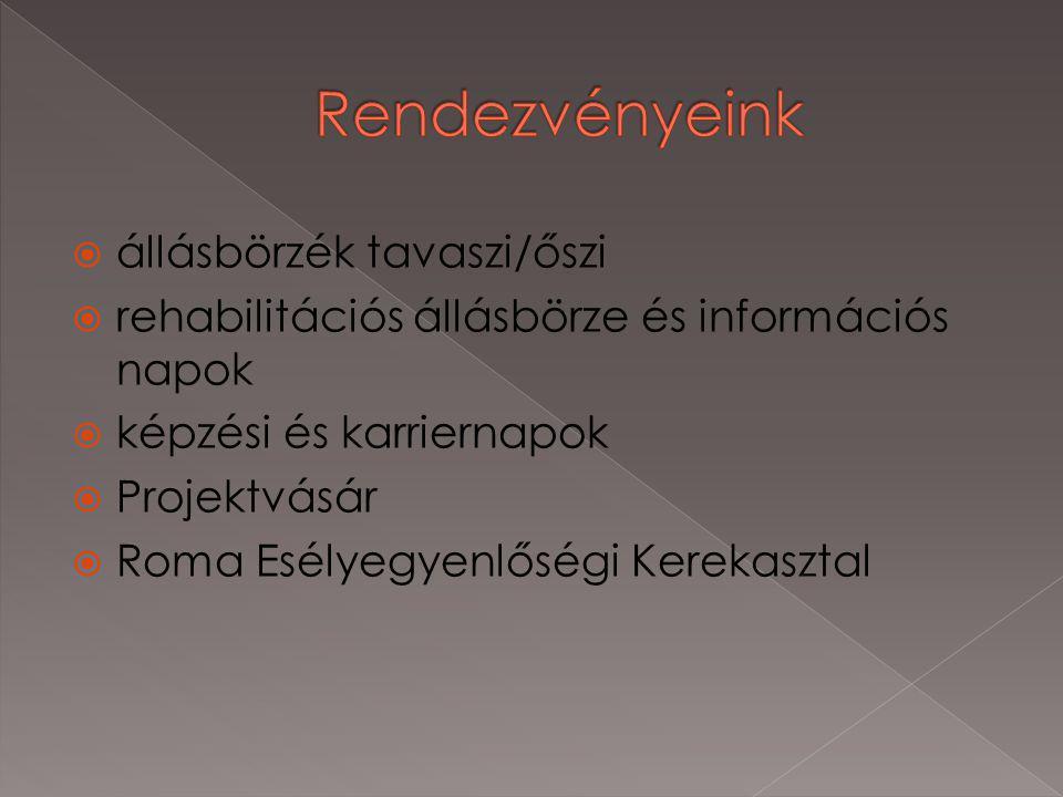  állásbörzék tavaszi/őszi  rehabilitációs állásbörze és információs napok  képzési és karriernapok  Projektvásár  Roma Esélyegyenlőségi Kerekasztal