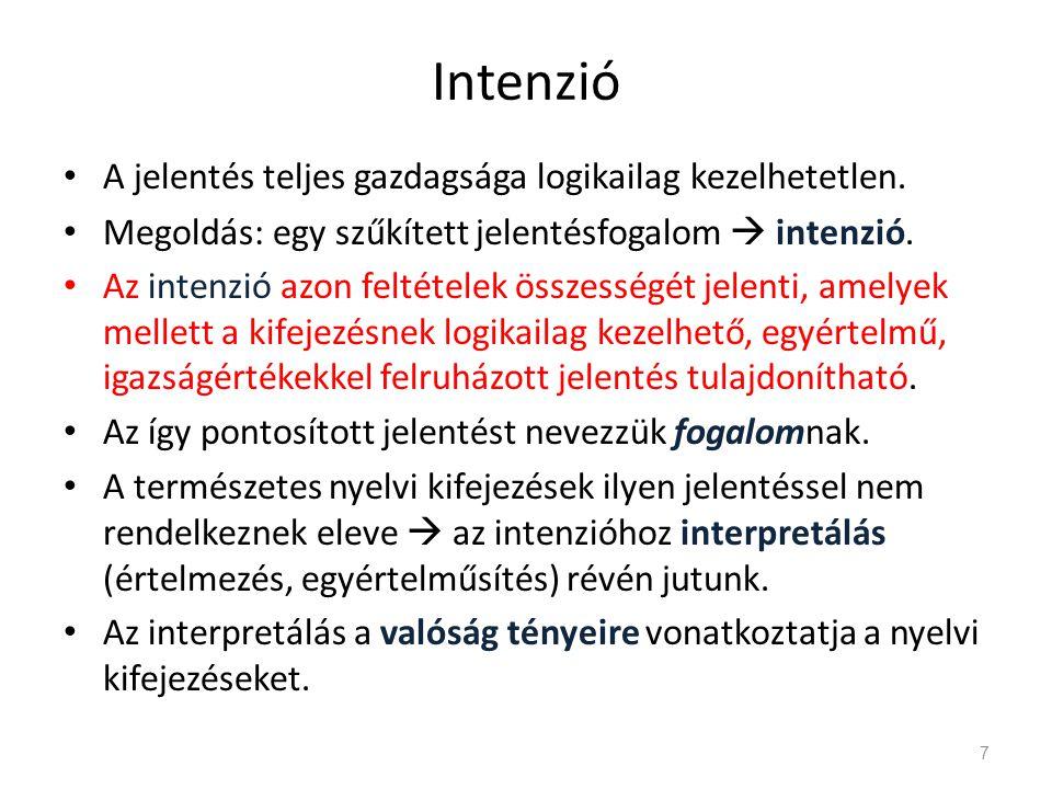 Individuumnevek • Individuumnév extenziója: az individuális dolog.