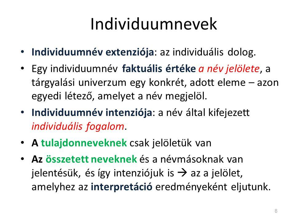 Individuumnevek • Individuumnév extenziója: az individuális dolog. • Egy individuumnév faktuális értéke a név jelölete, a tárgyalási univerzum egy kon