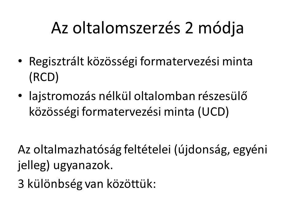 Az oltalomszerzés 2 módja • Regisztrált közösségi formatervezési minta (RCD) • lajstromozás nélkül oltalomban részesülő közösségi formatervezési minta