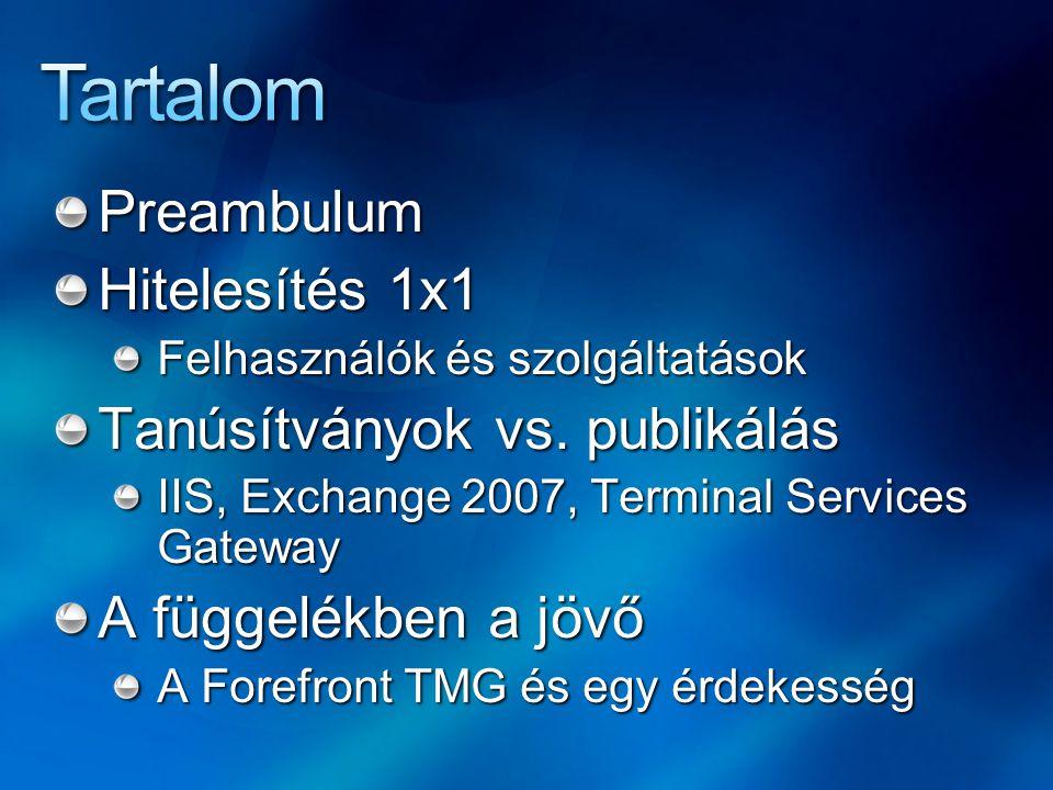 Preambulum Hitelesítés 1x1 Felhasználók és szolgáltatások Tanúsítványok vs.