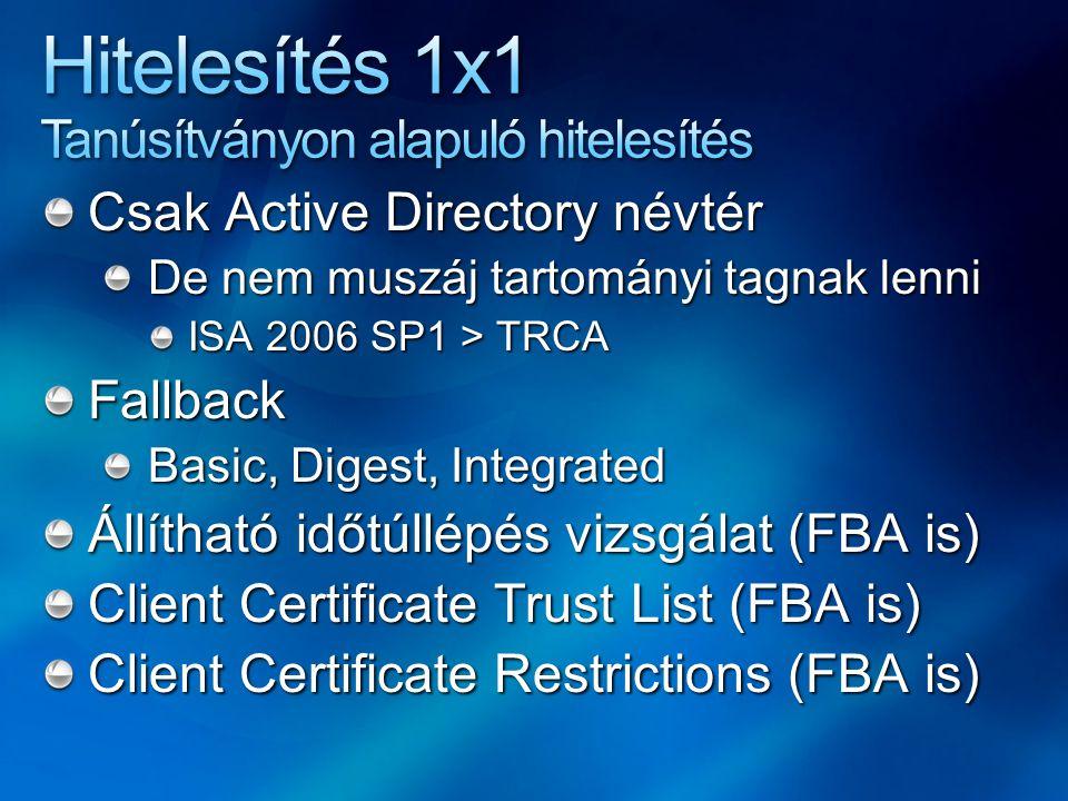 Csak Active Directory névtér De nem muszáj tartományi tagnak lenni ISA 2006 SP1 > TRCA Fallback Basic, Digest, Integrated Állítható időtúllépés vizsgálat (FBA is) Client Certificate Trust List (FBA is) Client Certificate Restrictions (FBA is)