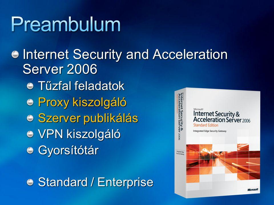 Internet Security and Acceleration Server 2006 Tűzfal feladatok Proxy kiszolgáló Szerver publikálás VPN kiszolgáló Gyorsítótár Standard / Enterprise