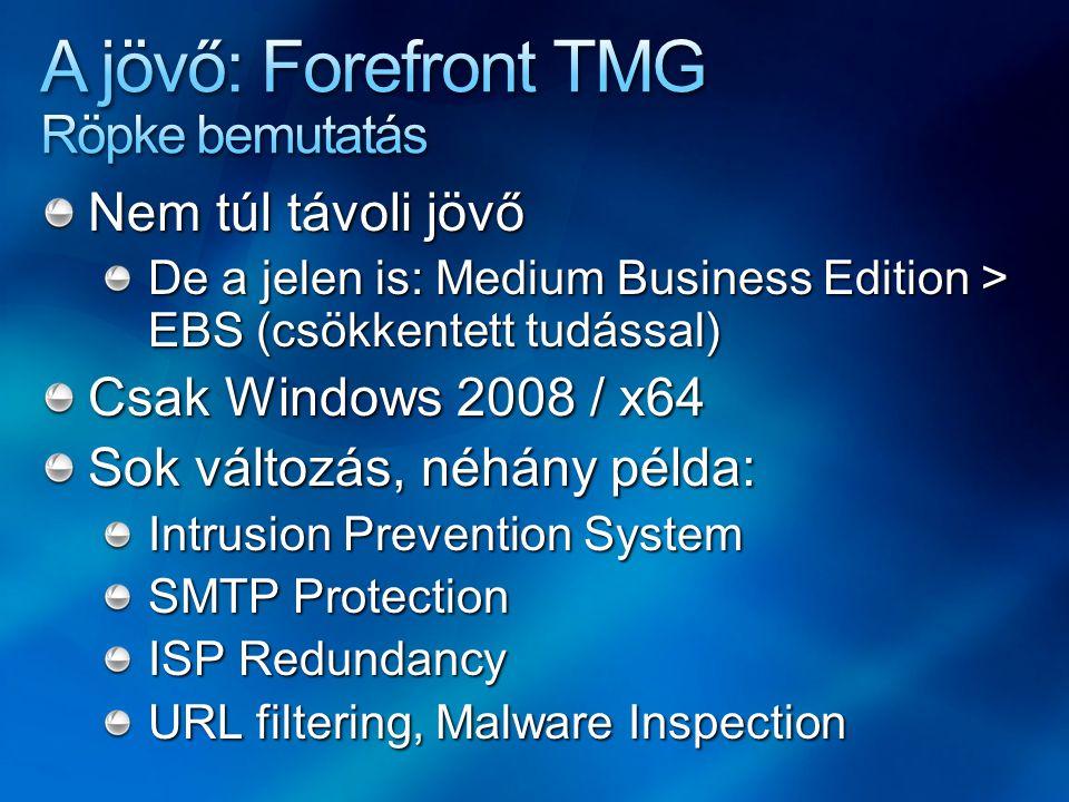 Nem túl távoli jövő De a jelen is: Medium Business Edition > EBS (csökkentett tudással) Csak Windows 2008 / x64 Sok változás, néhány példa: Intrusion Prevention System SMTP Protection ISP Redundancy URL filtering, Malware Inspection