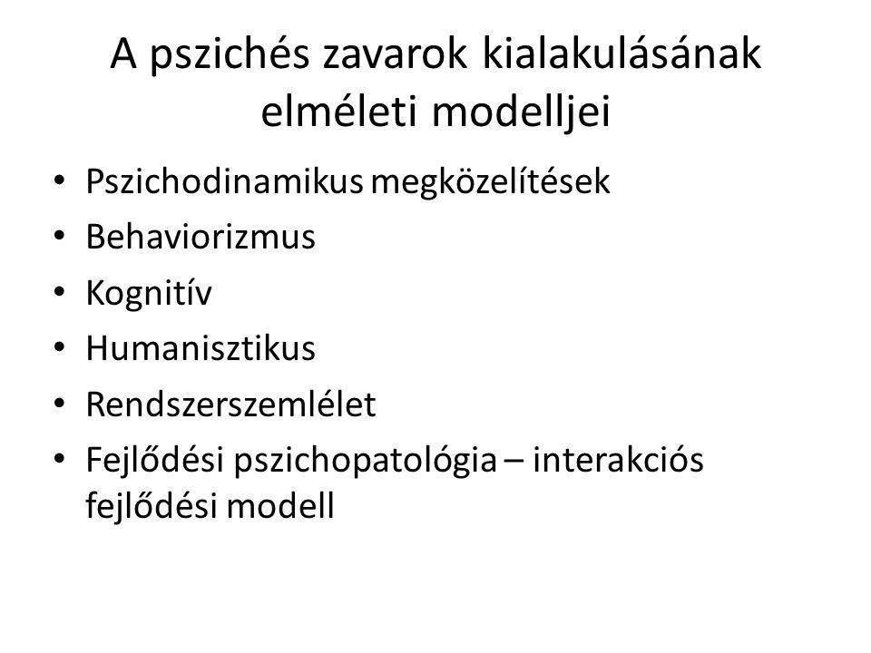 A pszichés zavarok kialakulásának elméleti modelljei • Pszichodinamikus megközelítések • Behaviorizmus • Kognitív • Humanisztikus • Rendszerszemlélet • Fejlődési pszichopatológia – interakciós fejlődési modell