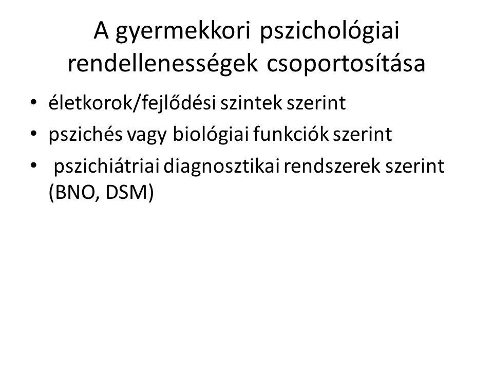 A gyermekkori pszichológiai rendellenességek csoportosítása • életkorok/fejlődési szintek szerint • pszichés vagy biológiai funkciók szerint • pszichiátriai diagnosztikai rendszerek szerint (BNO, DSM)