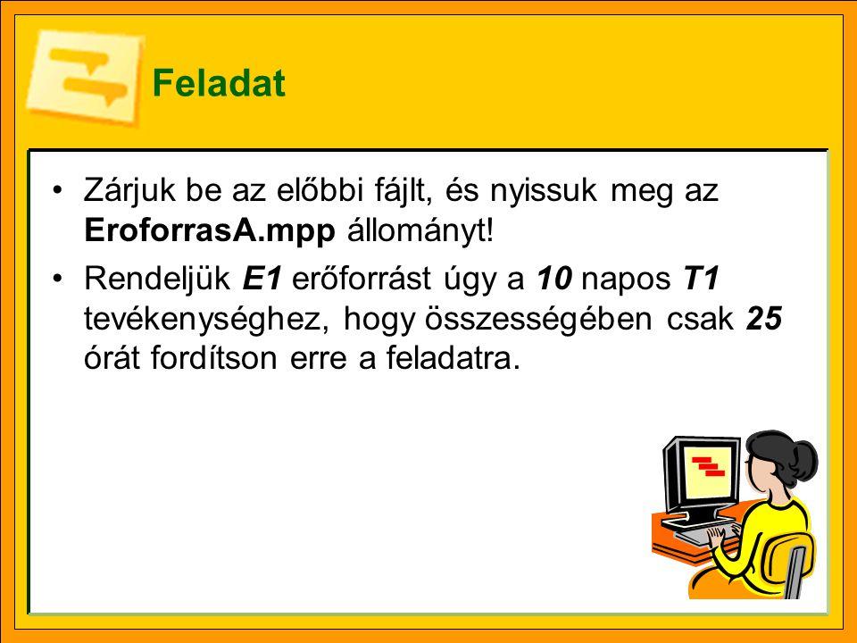 Feladat •Zárjuk be az előbbi fájlt, és nyissuk meg az EroforrasA.mpp állományt.
