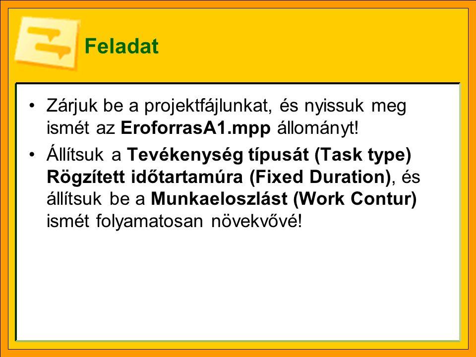 Feladat •Zárjuk be a projektfájlunkat, és nyissuk meg ismét az EroforrasA1.mpp állományt! •Állítsuk a Tevékenység típusát (Task type) Rögzített időtar