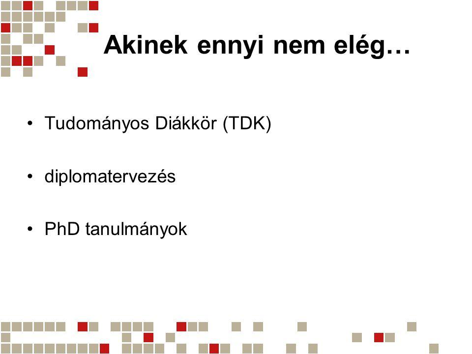Akinek ennyi nem elég… •Tudományos Diákkör (TDK) •diplomatervezés •PhD tanulmányok