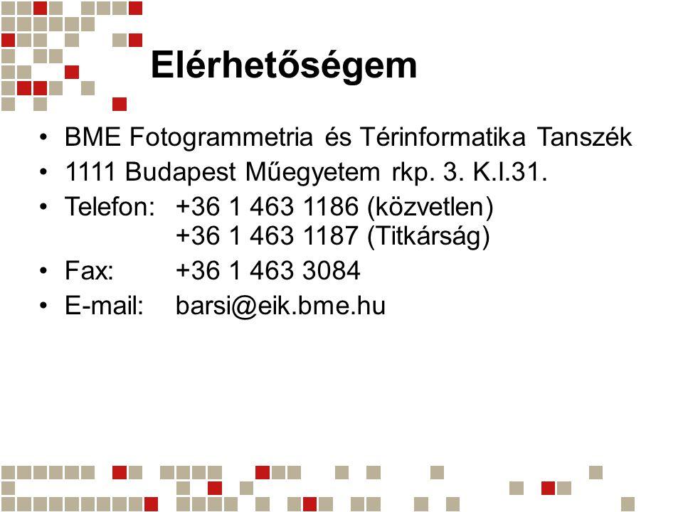 Elérhetőségem •BME Fotogrammetria és Térinformatika Tanszék •1111 Budapest Műegyetem rkp.
