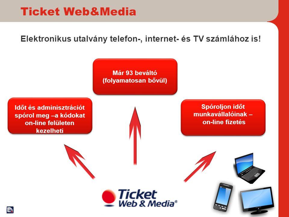 Ticket Web&Media Elektronikus utalvány telefon-, internet- és TV számlához is! 16 Időt és adminisztrációt spórol meg –a kódokat on-line felületen keze