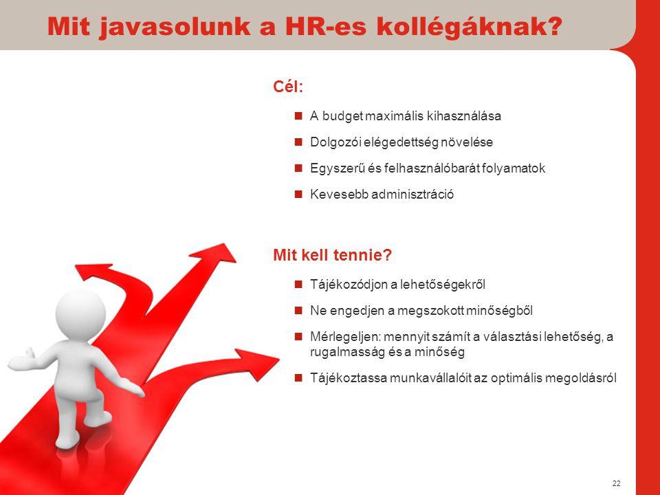 Mit javasolunk a HR-es kollégáknak? Cél:  A budget maximális kihasználása  Dolgozói elégedettség növelése  Egyszerű és felhasználóbarát folyamatok