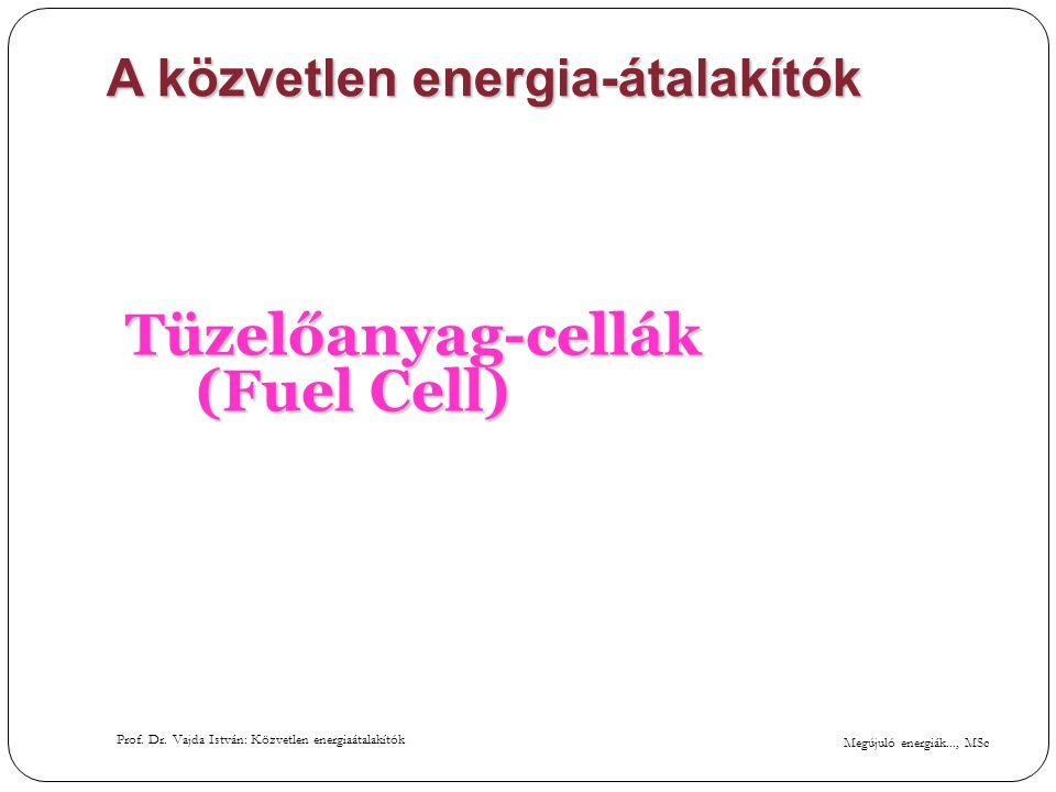 Megújuló energiák..., MSc Prof. Dr. Vajda István: Közvetlen energiaátalakítók A közvetlen energia-átalakítók Tüzelőanyag-cellák (Fuel Cell)