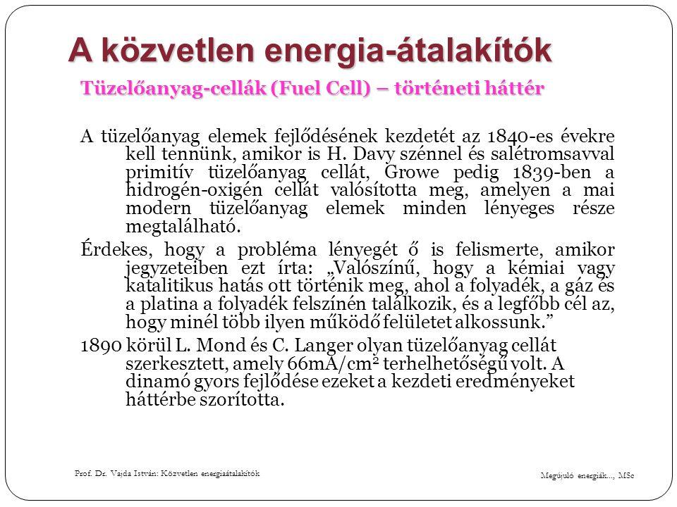 Megújuló energiák..., MSc Prof. Dr. Vajda István: Közvetlen energiaátalakítók A közvetlen energia-átalakítók Tüzelőanyag-cellák (Fuel Cell) – történet