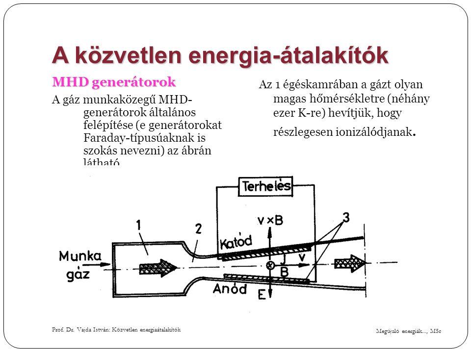 Megújuló energiák..., MSc Prof. Dr. Vajda István: Közvetlen energiaátalakítók A közvetlen energia-átalakítók MHD generátorok A gáz munkaközegű MHD- ge