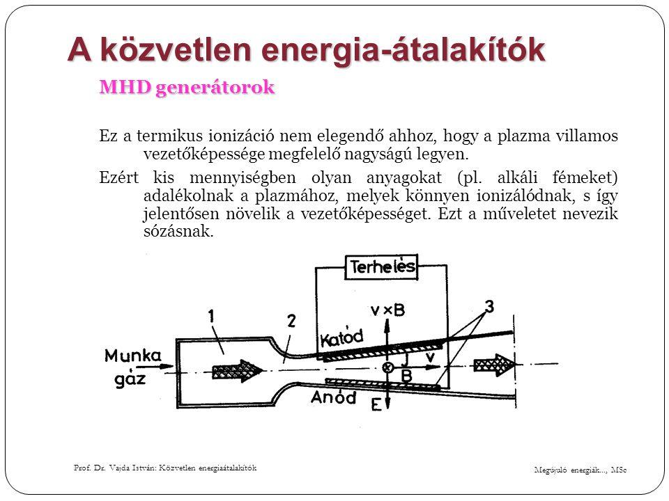 Megújuló energiák..., MSc Prof. Dr. Vajda István: Közvetlen energiaátalakítók A közvetlen energia-átalakítók MHD generátorok Ez a termikus ionizáció n