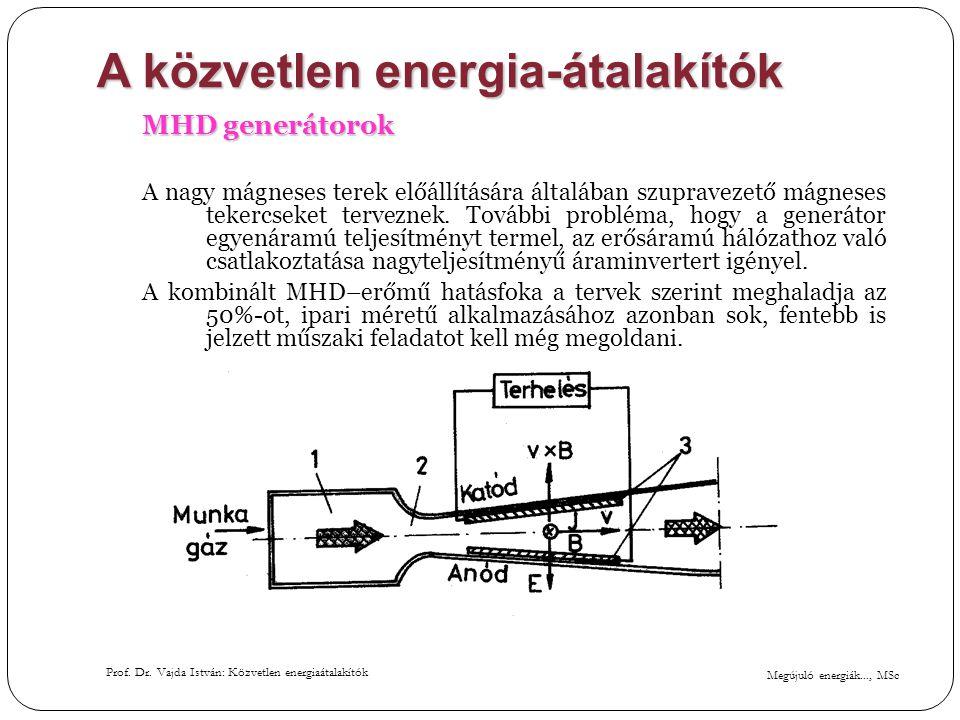 Megújuló energiák..., MSc Prof. Dr. Vajda István: Közvetlen energiaátalakítók A közvetlen energia-átalakítók MHD generátorok A nagy mágneses terek elő