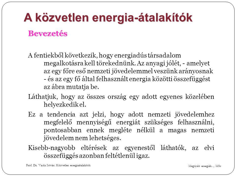 Megújuló energiák..., MSc Prof. Dr. Vajda István: Közvetlen energiaátalakítók A közvetlen energia-átalakítók Bevezetés A fentiekből következik, hogy e