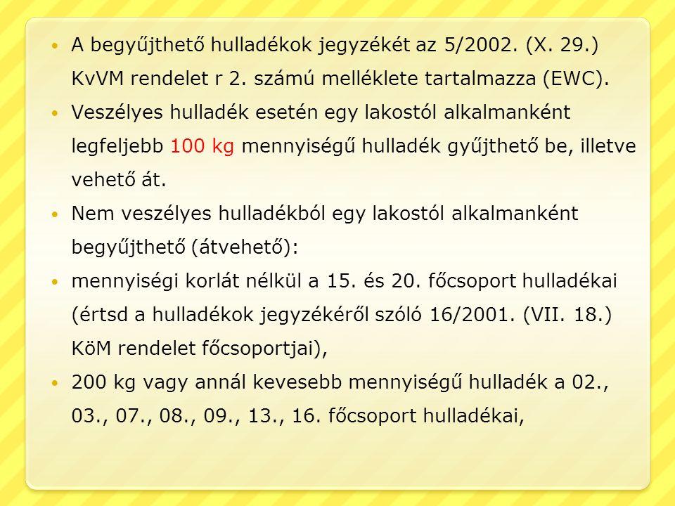  A begyűjthető hulladékok jegyzékét az 5/2002. (X. 29.) KvVM rendelet r 2. számú melléklete tartalmazza (EWC).  Veszélyes hulladék esetén egy lakost
