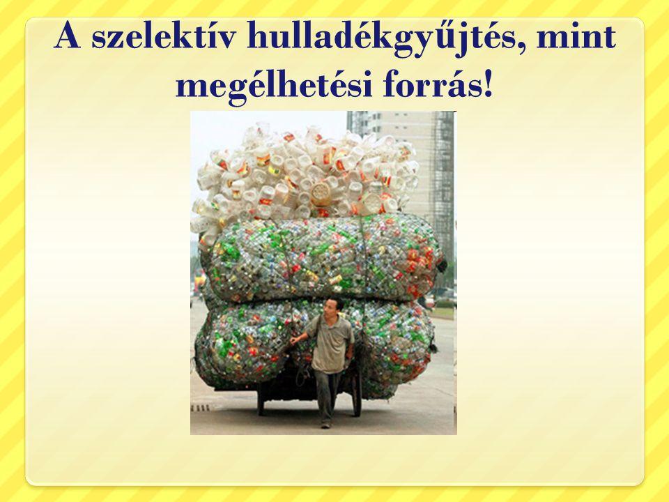 A szelektív hulladékgy ű jtés, mint megélhetési forrás!