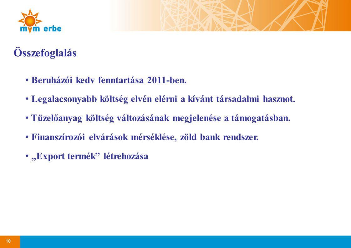 10 Összefoglalás • Beruházói kedv fenntartása 2011-ben. • Legalacsonyabb költség elvén elérni a kívánt társadalmi hasznot. • Tüzelőanyag költség válto