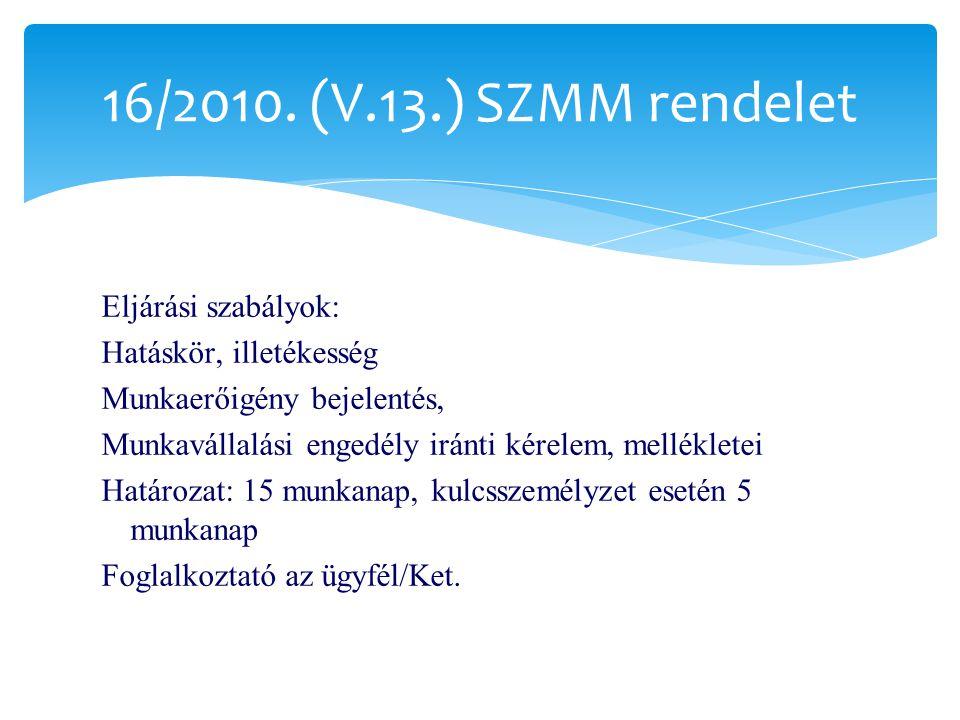 Eljárási szabályok: Hatáskör, illetékesség Munkaerőigény bejelentés, Munkavállalási engedély iránti kérelem, mellékletei Határozat: 15 munkanap, kulcsszemélyzet esetén 5 munkanap Foglalkoztató az ügyfél/Ket.
