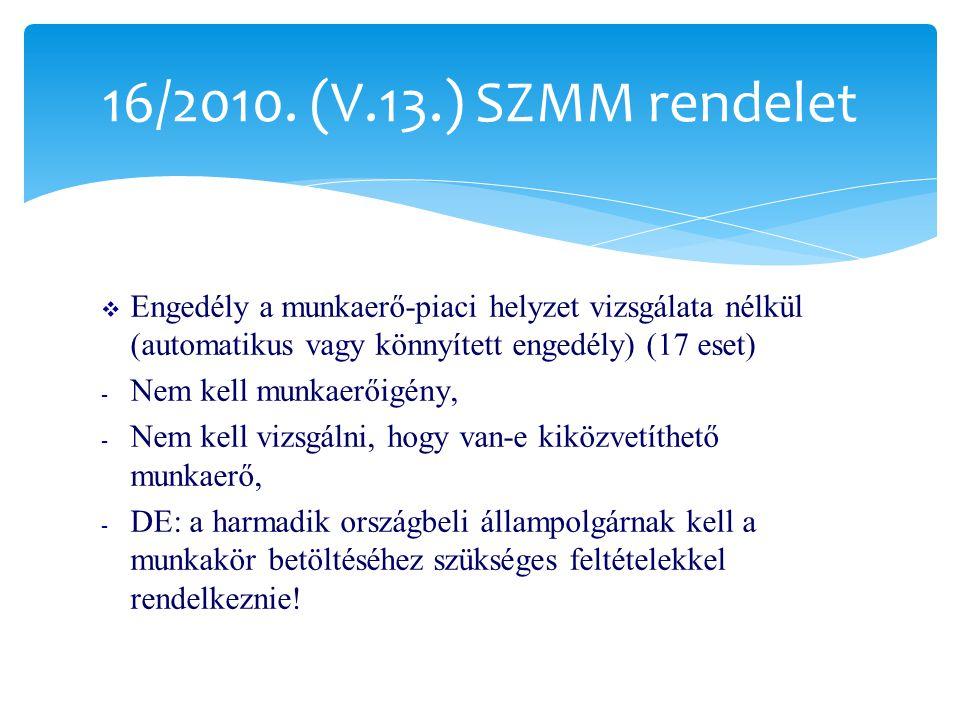  Családegyesítő családtagjának munkavégzése  - jogszerű magyarországi tartózkodástól számított 1 éven belül – általános szabályok  - 1 éven túl – családegyesítőre vonatkozó szabályok szerint  - engedély: legfeljebb 2 évre, de korlát a családi együttélés céljára kiadott tartózkodási engedély ideje  - Családi együttélés céljára kiadott tartózkodási engedély hiteles másolatának csatolása 16/2010.