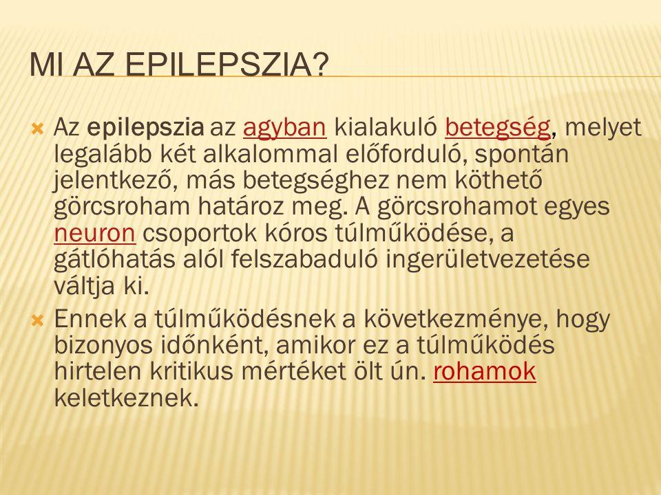 MI AZ EPILEPSZIA?  Az epilepszia az agyban kialakuló betegség, melyet legalább két alkalommal előforduló, spontán jelentkező, más betegséghez nem köt