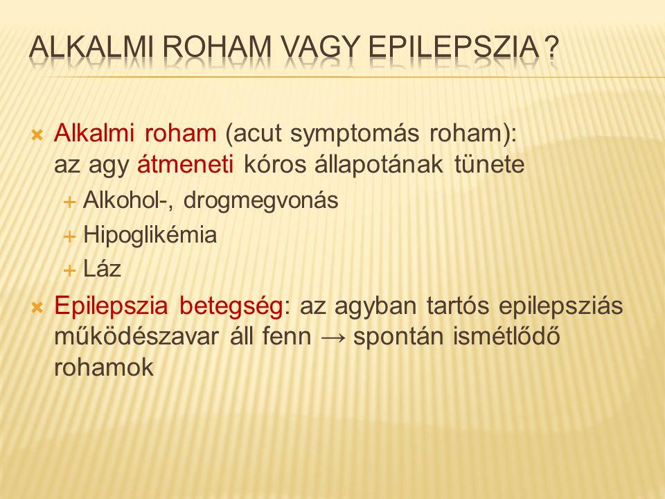  Alkalmi roham (acut symptomás roham): az agy átmeneti kóros állapotának tünete  Alkohol-, drogmegvonás  Hipoglikémia  Láz  Epilepszia betegség:
