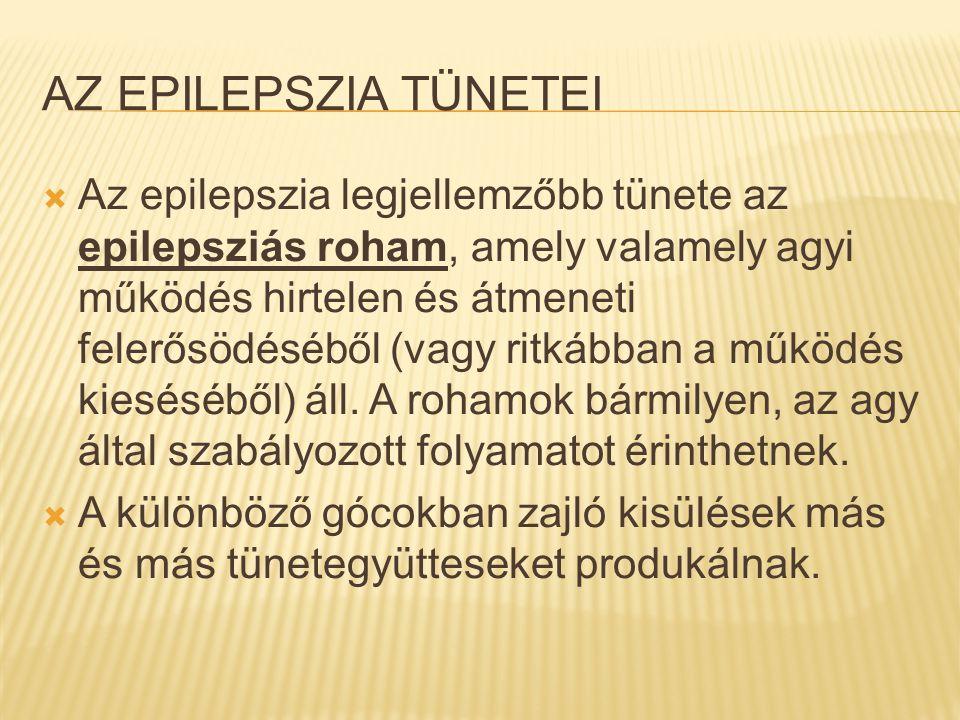 AZ EPILEPSZIA TÜNETEI  Az epilepszia legjellemzőbb tünete az epilepsziás roham, amely valamely agyi működés hirtelen és átmeneti felerősödéséből (vag