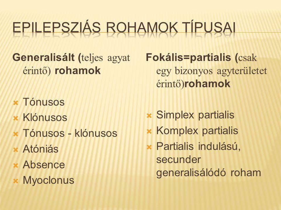 Generalisált ( teljes agyat érintő) rohamok  Tónusos  Klónusos  Tónusos - klónusos  Atóniás  Absence  Myoclonus Fokális=partialis ( csak egy biz