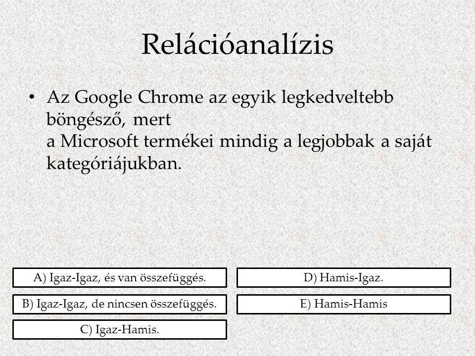 Relációanalízis • Az Google Chrome az egyik legkedveltebb böngésző, mert a Microsoft termékei mindig a legjobbak a saját kategóriájukban. A) Igaz-Igaz