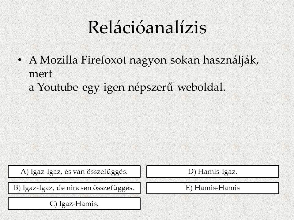 Relációanalízis • A Mozilla Firefoxot nagyon sokan használják, mert a Youtube egy igen népszerű weboldal. A) Igaz-Igaz, és van összefüggés. B) Igaz-Ig