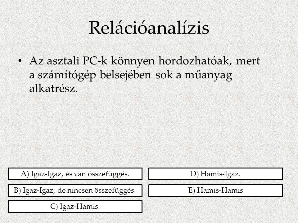 Relációanalízis • Az asztali PC-k könnyen hordozhatóak, mert a számítógép belsejében sok a műanyag alkatrész. A) Igaz-Igaz, és van összefüggés. B) Iga