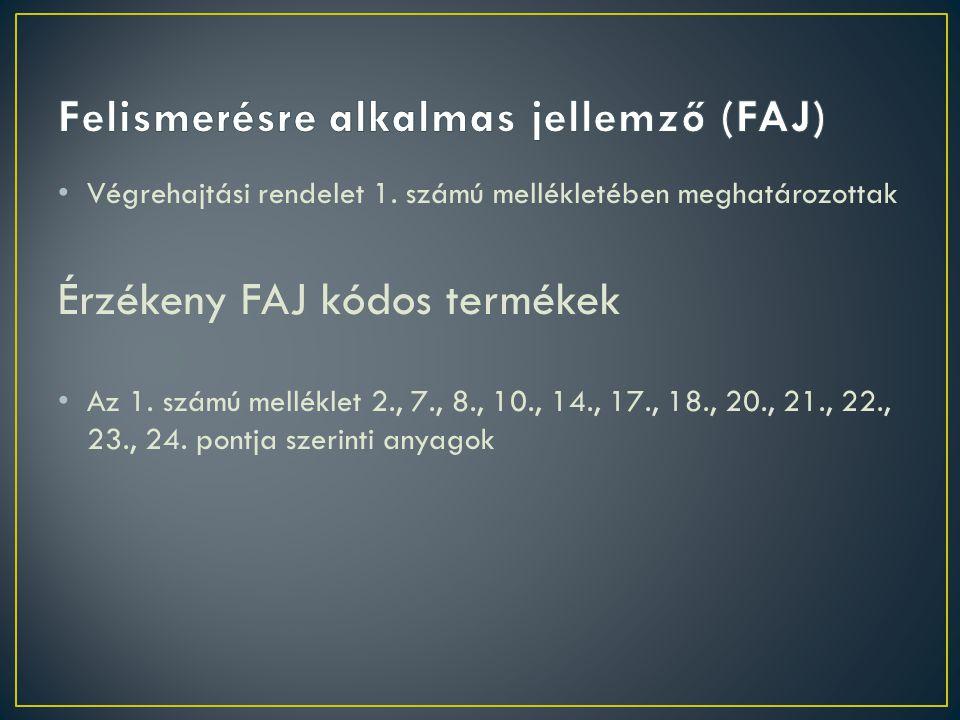 • Végrehajtási rendelet 1.számú mellékletében meghatározottak Érzékeny FAJ kódos termékek • Az 1.