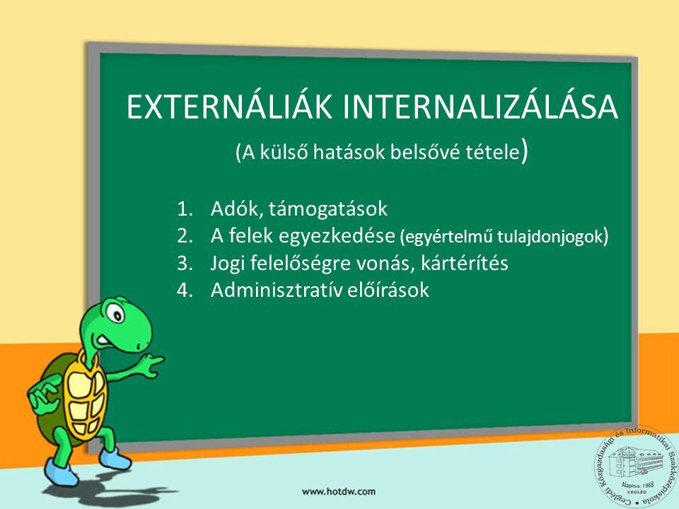 EXTERNÁLIÁK INTERNALIZÁLÁSA 1.Adók, támogatások 2.A felek egyezkedése (egyértelmű tulajdonjogok ) 3.Jogi felelőségre vonás, kártérítés 4.Adminisztratí