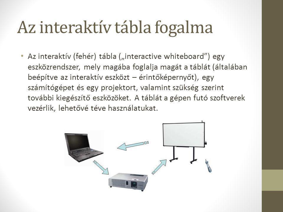 """Az interaktív tábla fogalma • Az interaktív (fehér) tábla (""""interactive whiteboard ) egy eszközrendszer, mely magába foglalja magát a táblát (általában beépítve az interaktív eszközt – érintőképernyőt), egy számítógépet és egy projektort, valamint szükség szerint további kiegészítő eszközöket."""