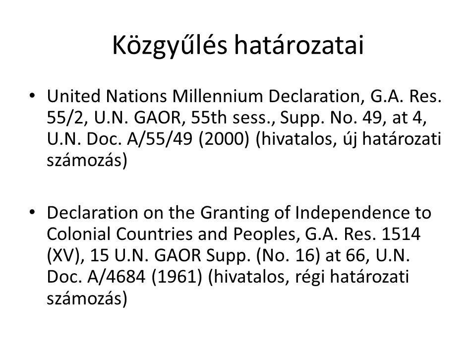 Közgyűlés határozatai • United Nations Millennium Declaration, G.A.