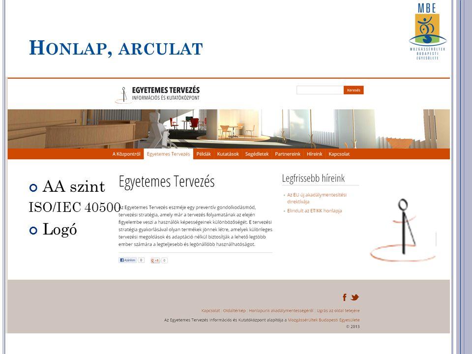 H ONLAP, ARCULAT AA szint ISO/IEC 40500 Logó