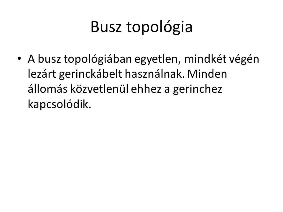 Busz topológia • A busz topológiában egyetlen, mindkét végén lezárt gerinckábelt használnak.