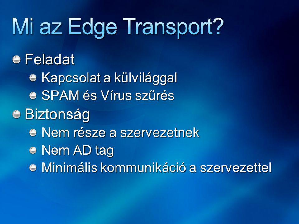 Feladat Kapcsolat a külvilággal SPAM és Vírus szűrés Biztonság Nem része a szervezetnek Nem AD tag Minimális kommunikáció a szervezettel