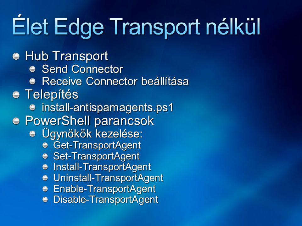 Hub Transport Send Connector Receive Connector beállítása Telepítésinstall-antispamagents.ps1 PowerShell parancsok Ügynökök kezelése: Get-TransportAgentSet-TransportAgentInstall-TransportAgentUninstall-TransportAgentEnable-TransportAgentDisable-TransportAgent