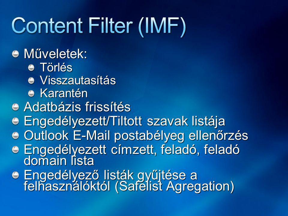 Műveletek:TörlésVisszautasításKarantén Adatbázis frissítés Engedélyezett/Tiltott szavak listája Outlook E-Mail postabélyeg ellenőrzés Engedélyezett címzett, feladó, feladó domain lista Engedélyező listák gyűjtése a felhasználóktól (Safelist Agregation)