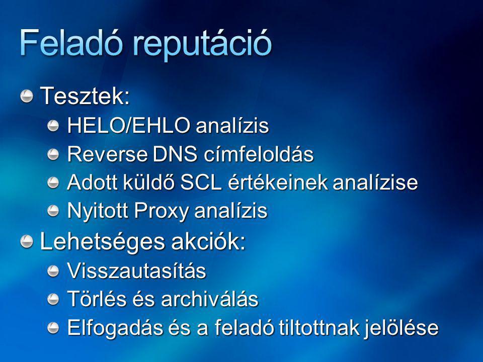 Tesztek: HELO/EHLO analízis Reverse DNS címfeloldás Adott küldő SCL értékeinek analízise Nyitott Proxy analízis Lehetséges akciók: Visszautasítás Törlés és archiválás Elfogadás és a feladó tiltottnak jelölése