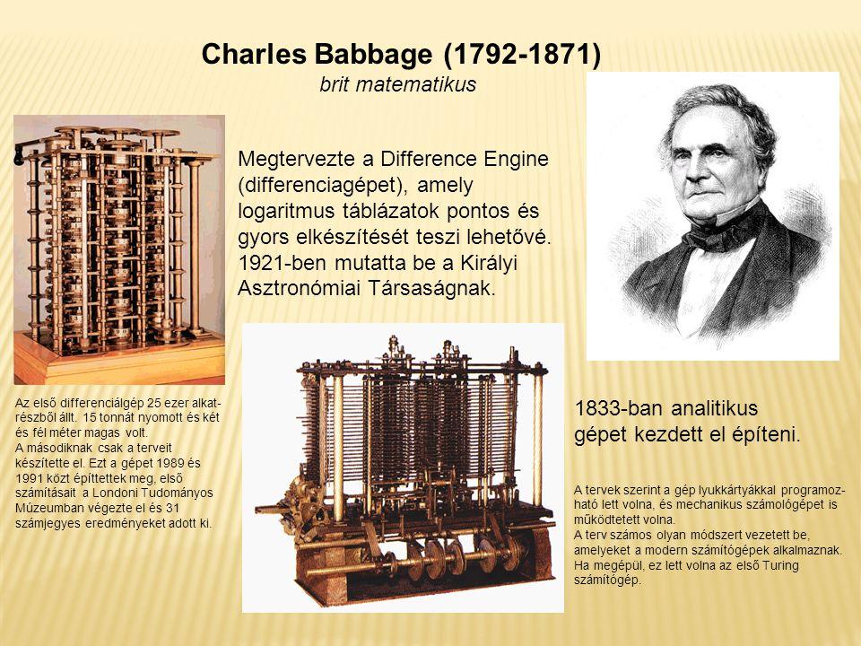Charles Babbage (1792-1871) brit matematikus Megtervezte a Difference Engine (differenciagépet), amely logaritmus táblázatok pontos és gyors elkészíté