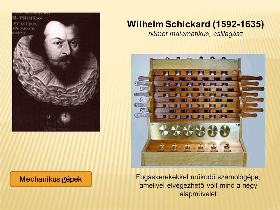 Wilhelm Schickard (1592-1635) német matematikus, csillagász Fogaskerekekkel működő számológépe, amellyel elvégezhető volt mind a négy alapművelet Mechanikus gépek