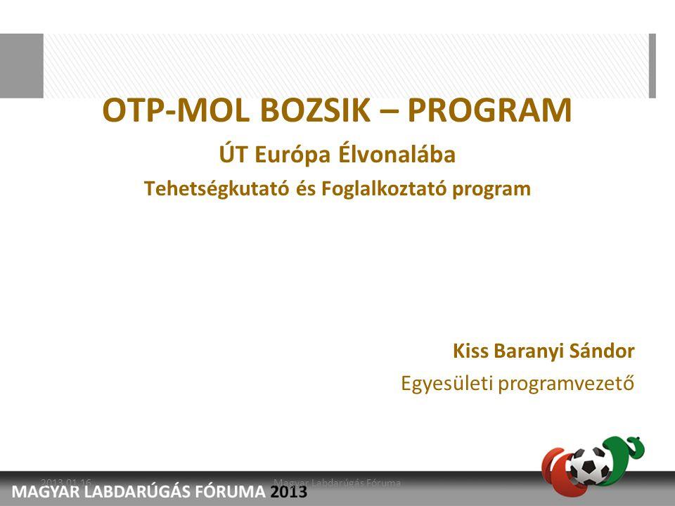 2010/11 Struktúra felépítése Mozgósítás Szakember kiválasztás 2011/12 Létszám növelés Szakmai program megvalósításának kezdete Tehetségek regisztrálása 2012/13 Intézményi Tömegbázis megduplázása Tehetségek kiválasztása Tehetségek Kiemelt Foglalkoztatása Az OTP-MOL Bozsik- program és az Akadémiák kapcsolatának elmélyítése Szakemberek továbbképzése Célkitűzéseink: 2013.01.16.Magyar Labdarúgás Fóruma