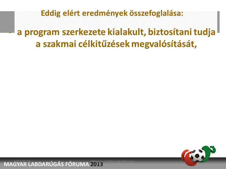 Eddig elért eredmények összefoglalása: -a program szerkezete kialakult, biztosítani tudja a szakmai célkitűzések megvalósítását, 2013.01.16.Magyar Lab