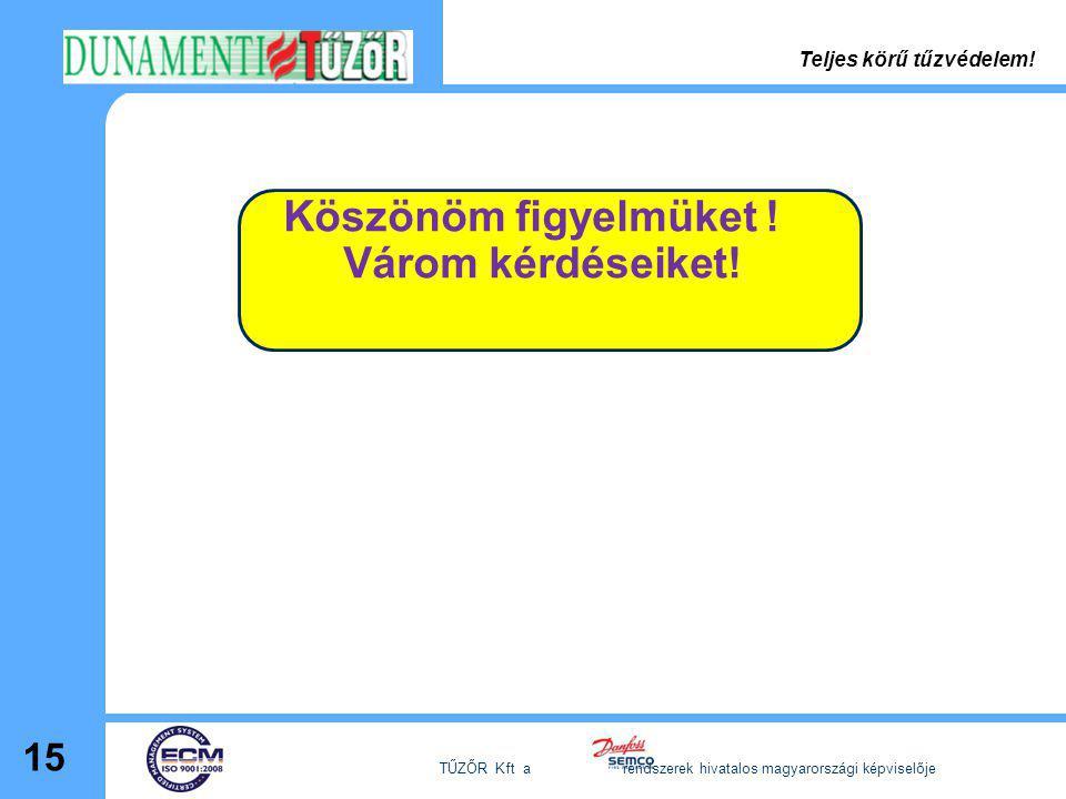 Köszönöm figyelmüket ! Várom kérdéseiket! 15 TŰZŐR Kft a rendszerek hivatalos magyarországi képviselője Teljes körű tűzvédelem!