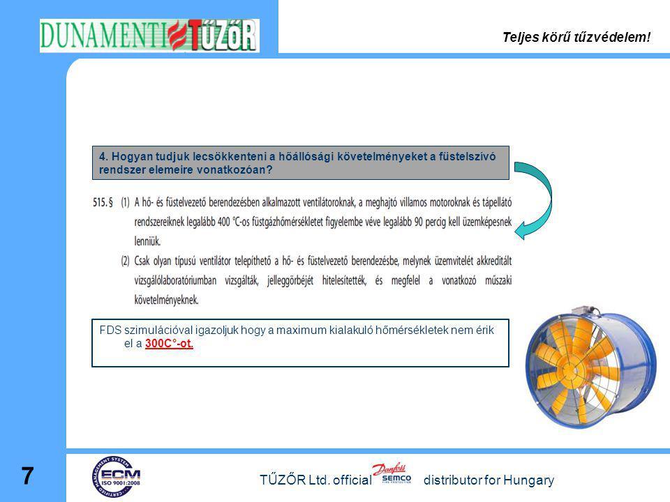 TŰZŐR Ltd. official distributor for Hungary 7 4. Hogyan tudjuk lecsökkenteni a hőállósági követelményeket a füstelszívó rendszer elemeire vonatkozóan?